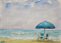 Beach Chairs. Myrtle Beach SC. 9×12. Watercolor on paper. Plein Air.