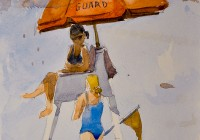 Lifeguard on Duty. Myrtle Beach SC. 8×5. Watercolor on paper. Plein Air.