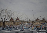 Sunday Antique Market. 12x16. Watercolor on paper.