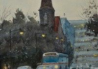 Raleigh Downtown in Winter. 21x14. Watercolor on paper.