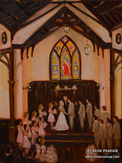 Ashley & Chris. Live Wedding Painting at All Saints Chapel. Oil on Linen. 16x12.