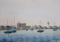 Morning, Wrightsville Beach. Plein air. Watercolor painting on paper.