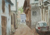 Amreli Street. Watercolor painting on paper.