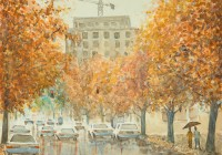 View from Blount Street. Plein air watercolor painting on paper.