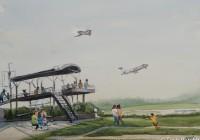 RDU Takeoff. Plein Air Watercolor painting on paper.