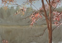 Autumn at Upper lake. Watercolor painting on paper..