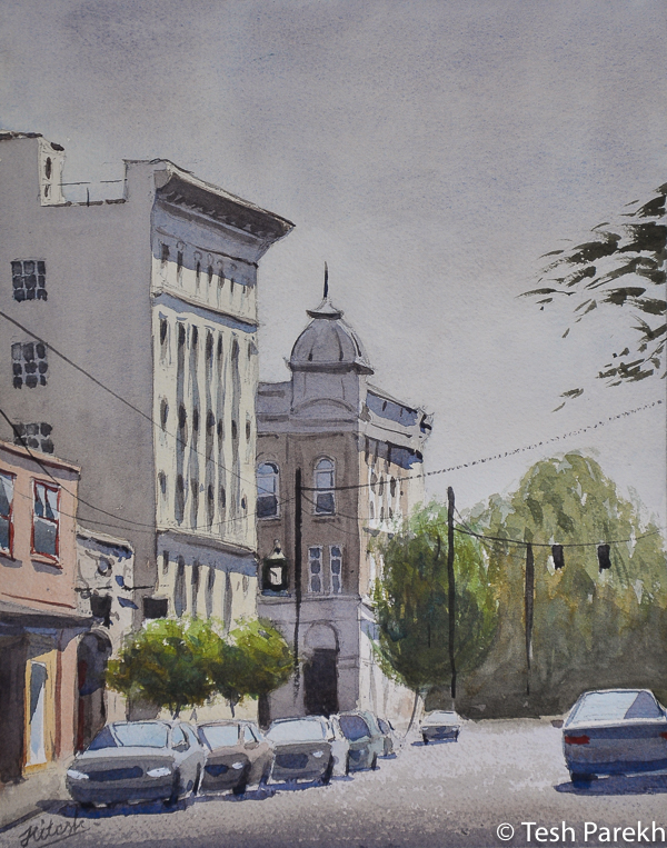 """""""Gordon Street"""". 11x14 Watercolor on paper. Available. Kinston NC Paintings."""