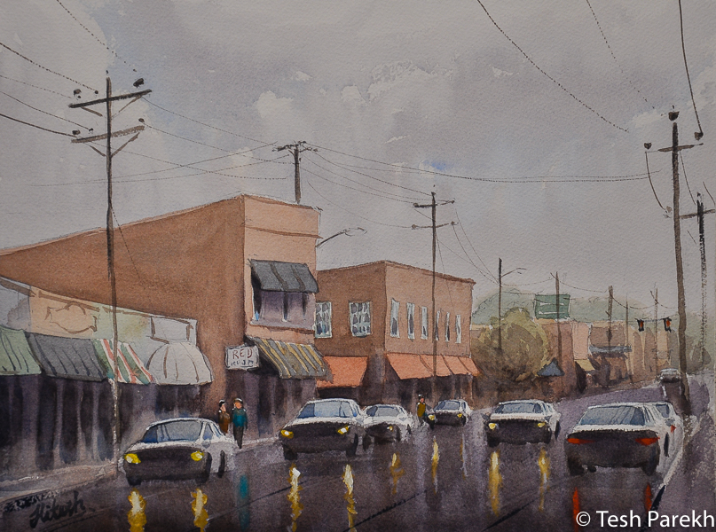 """""""Wet Day in Kinston"""". 2nd place winner in 2016 Kinston annual plein air paint out. 12x16. Watercolor on paper. Original sold. Prints available. Kinston NC paintings."""