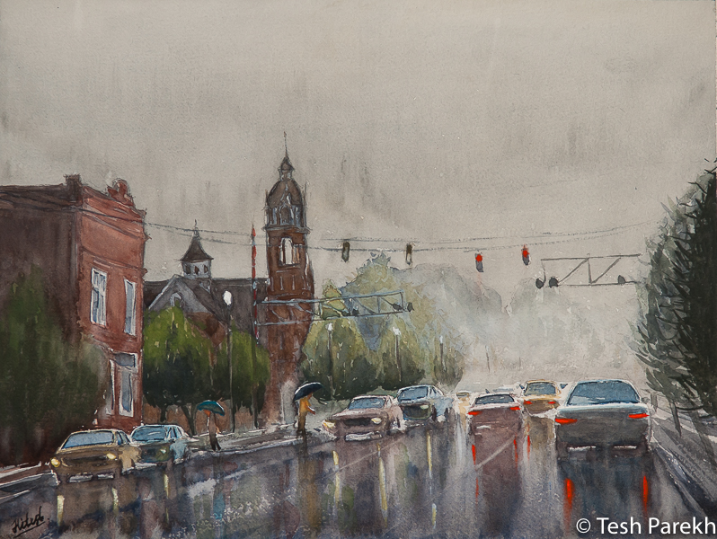 """""""Rainy Day in Kinston"""". First place winner in 2015 annual Kinston plein air paint out. Original sold- prints available. 2016 official poster of the Kinston BBQ festival. Kinston NC Paintings"""