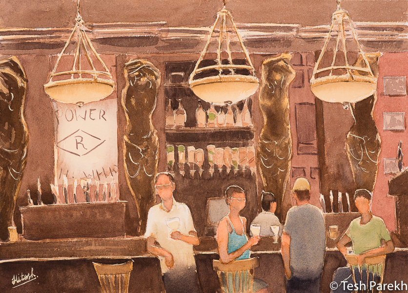 """Raleigh Art - """"Happy Hour"""". 10x14. Watercolor on paper."""
