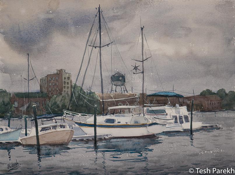 "Elizabeth City paintings. ""Storm over Elizabeth City"". Watercolor on paper. Original sold- prints available."