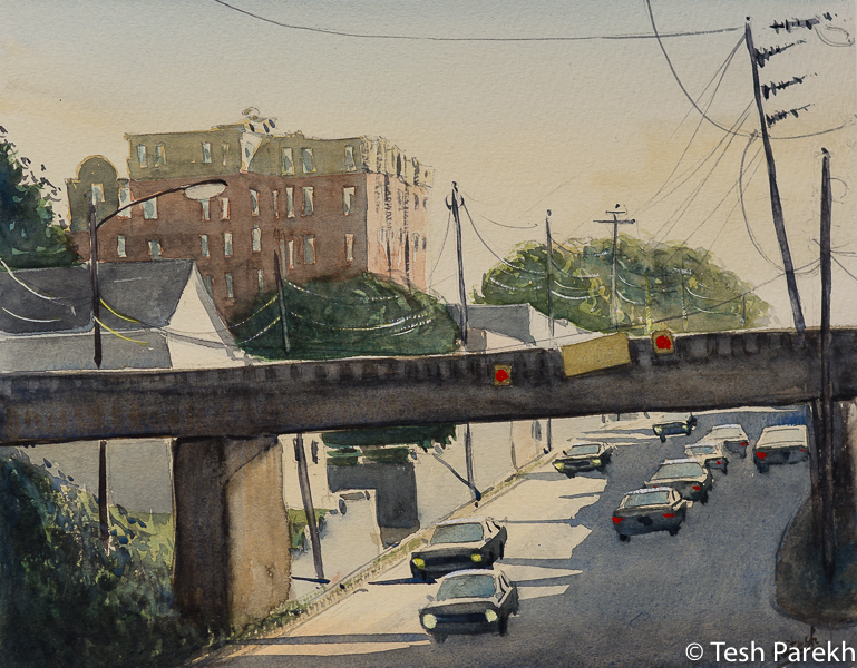 """Raleigh Art - """"Peace Street Bridge"""". Watercolor on paper. Original sold- prints available."""