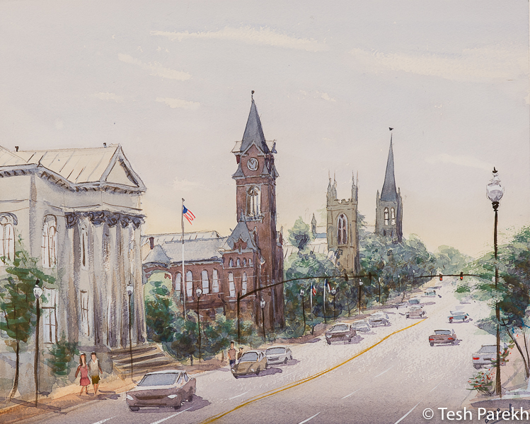 """""""3rd Street, Wilmington"""". 16x20. Plein Air Watercolor painting on paper. Available. Wilmington Paintings."""