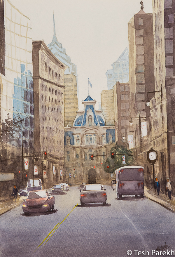 """Philadelphia City Hall"". Watercolor painting on paper. 19x13. Philadelphia paintings"