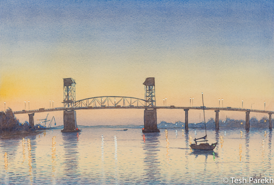 """Cape Fear Memorial Bridge"". 13x19. Watercolor painting on paper. Available. Wilmington Paintings."