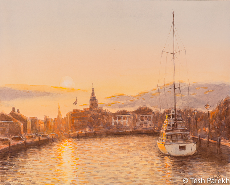Annapolis Evening. 16x20. Watercolor on paper. Paintings of Annapolis