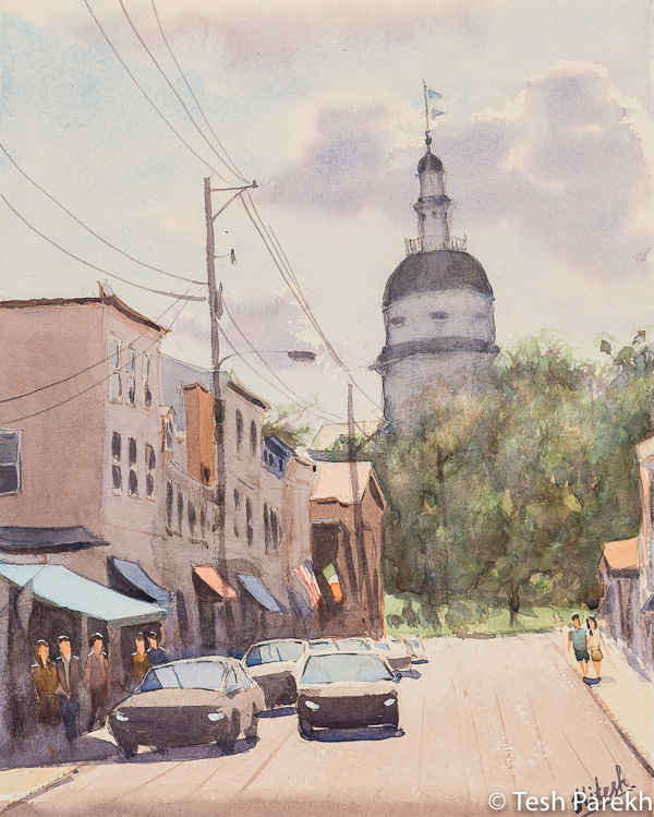 Maryland Avenue. 14x11. Watercolor on paper. Paintings of Annapolis.