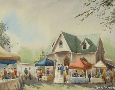 Cary Farmer's Market by Tesh Parekh. Plein air watercolor