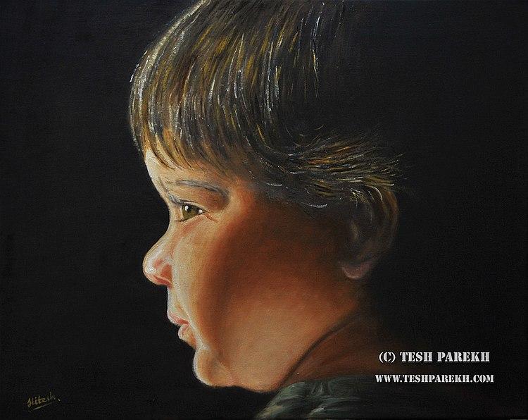 Oil portrait of a young boy.